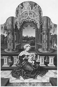 Maria met kind gezeten voor een gotisch bouwwerk. Het kind speelt met Maria's sluier