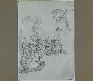Marine met twee galeien en de ontvoering van Ganymedes(?)