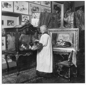 Portret van Henriette Ronner-Knip (1821-1909) in haar atelier