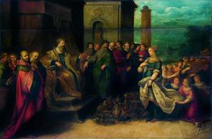 Salomo ontvangt geschenken van de koningin van Seba (1 Koningen 10:1-2)