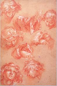 Vijf studies van een kop van een jongeling en drie handen