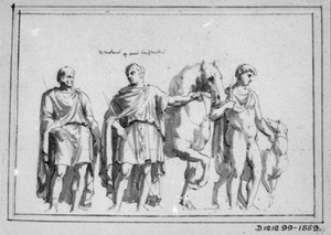 Twee mannen in toga en een naakte figuur met paard en hond