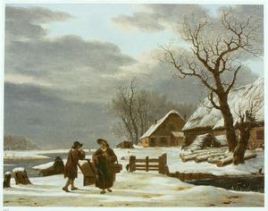 Winterlandschap met boerderijen bij een sloot, op de voorgrond twee pratende mensen
