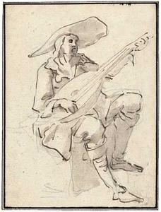 Zingende figuur met een luit