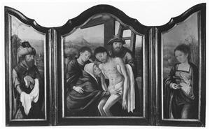 Jozef van Arimathea (links); De kruisafneming (midden); de H. Maria Magdalena (rechts)