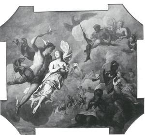 Mercurius leidt Psyche binnen op berg Olympus