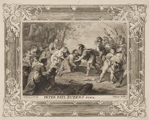 De verzoening van Jacob en Esau: Esau snelt zijn broer tegemoet en omhelst hem (Genesis 33:3-4)