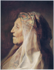 Borststuk van een oude vrouw met doorwerkte hoofddoek 'en profil'
