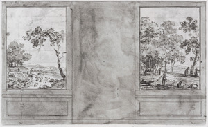 Kamerwand met twee behangselvlakken ter weerszijden van een leeg veld