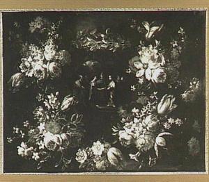Bloemenkrans rond een medaillon met een voorstelling van de verloving van Maria