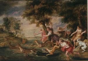 Diana en haar gevolg tijdens de hertenjacht