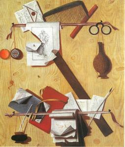 Trompe-l'oeil van een brievenbord with a comb, a pocket watch, spectacles and a quill