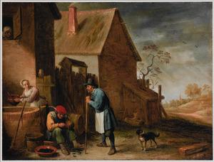 Boer eet mosselen op een boerenerf met een vrouw bij de waterput en een man leunend op een stok; door het open venster kijkt een oude vrouw toe