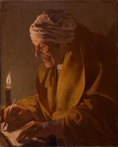 Oude man schrijvend bij kaarlischt