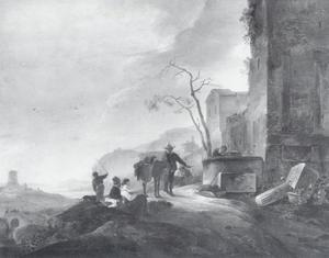 Italianiserend landschap met mensen bij een pad