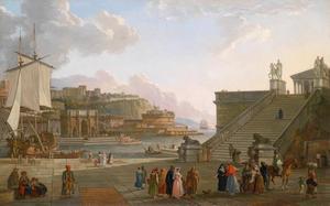 Zuidelijk havengezicht met antieke fantasie architectuur