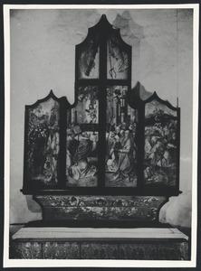 Abraham en Melchizedek, de Gregoriusmis (buitenzijde linkerluik); De Gregoriusmis, de mannaregen (buitenzijde rechterluik)