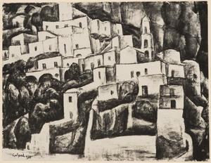 Gezicht op huizen en toren in Positano