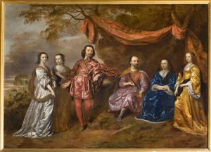 Familieportret van twee generaties Van Wassenaer van Duivenvoirde