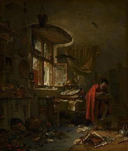 Alchemist in zijn studeervertrek