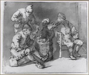 Vier boeren in een kroeg