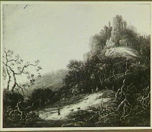 Berglandschap met ruïne en herder