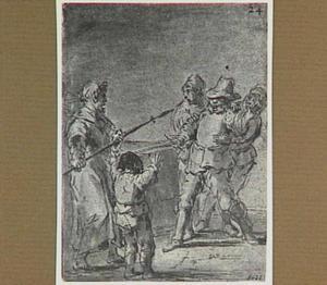 De ruzie tussen de aflaatverkoper en zijn trawant ontaardt in een gevecht (Lazarillo de Tormes dl. 1, cap. 16, p. 44)