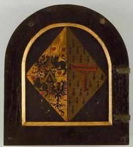 Heraldisch wapen van Elisabeth Donche (voorzijde: Portret van Elisabeth Donche)