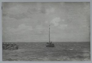 Zeilboot voor de haven