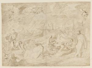 Prins Frederik Hendrik van Oranje bedwingt als Neptunus de zee