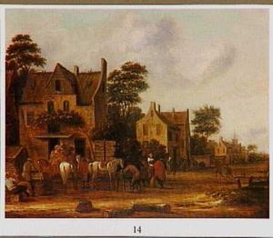 Dorpsstraat met ruiters voor een herberg