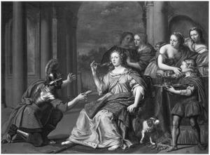 Semiramis ontvangt het bericht van de opstand die in Babylon is uitgebroken (Valerius Maximus, Factorum et dictorum memorabilium, IX, p. 5ff)