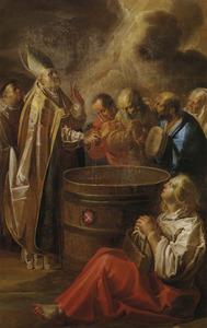 De H. Theodulus van Sitten voorkomt een misoogst van de wijn door al zegenend enige druiven uit te knijpen