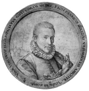 Portret van een vriend van Hendrik Goltzius