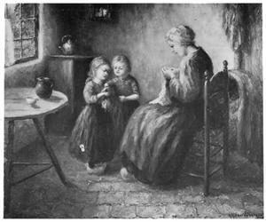 Interieur met moeder en kinderen