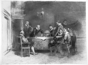Groep van elf mannen in een vertrek rond een tafel met een globe