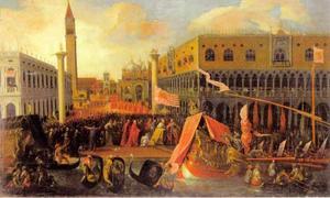 Inscheping bij het Piazza di San Marco door doge Francesco Molin