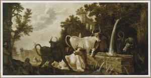Landschap met vee bij een drinkbak, links figuren bij een huis