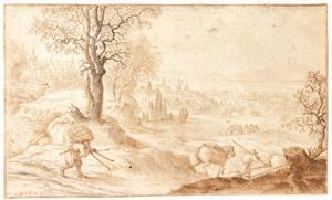 Winterlandschap met houtsprokkelaar, schaatsers en een kasteel