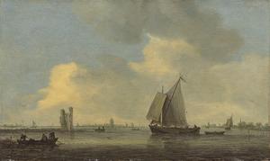 Gezicht op de Merwede met de ruïne van het Huis te Merwede; op de achtergrond Dordrecht