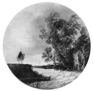 Landschap bij storm, met een ruiter op de oever van een rivier