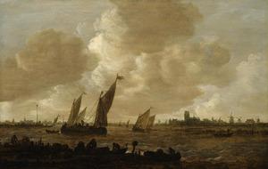 Rivierlandschap met vissers bij een steiger, zeilboten en Dordrecht in de achtergrond