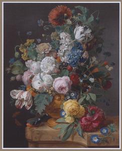 Bloemen, in een terra cotta vaas op een marmeren blad