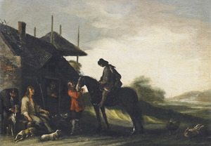 Landschap met rustende jager en ruiter bij een boerderij