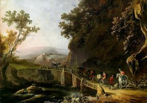 Zuidelijk landschap met reizigers op een brug