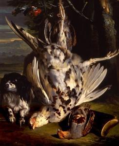 Hondje bij dood gevogelte