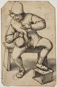 Zittende boer met een kruik in de rechterhand