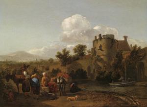 Zuidelijk landschap met boeren wachtend op een veerpont bij een vervallen toren