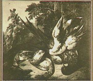 Jachtbuit met gevogelte in een landschap
