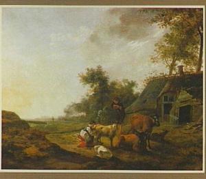 Landschap met herder, melkmeid en vee bij een boerderij
